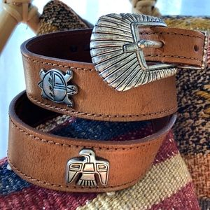 """Vintage Leather Southwestern """"Thunderbird"""" Belt"""